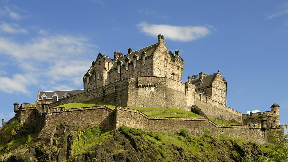 View of Edinburgh Castle from below on a sunny day in Scotland