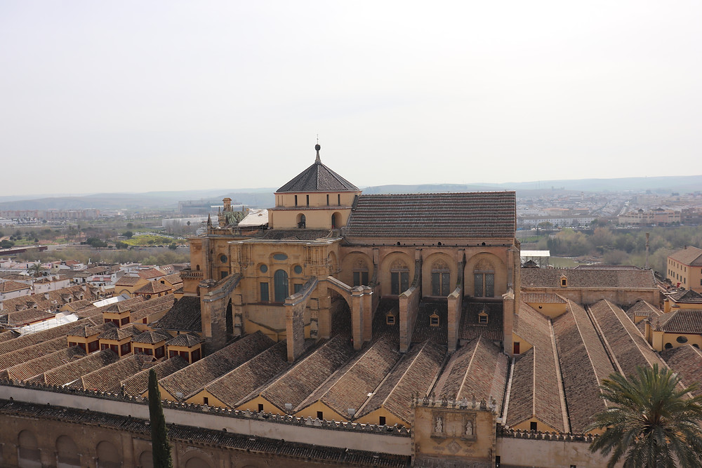 View of the Mezquita from the bell tower in Cordoba Spain