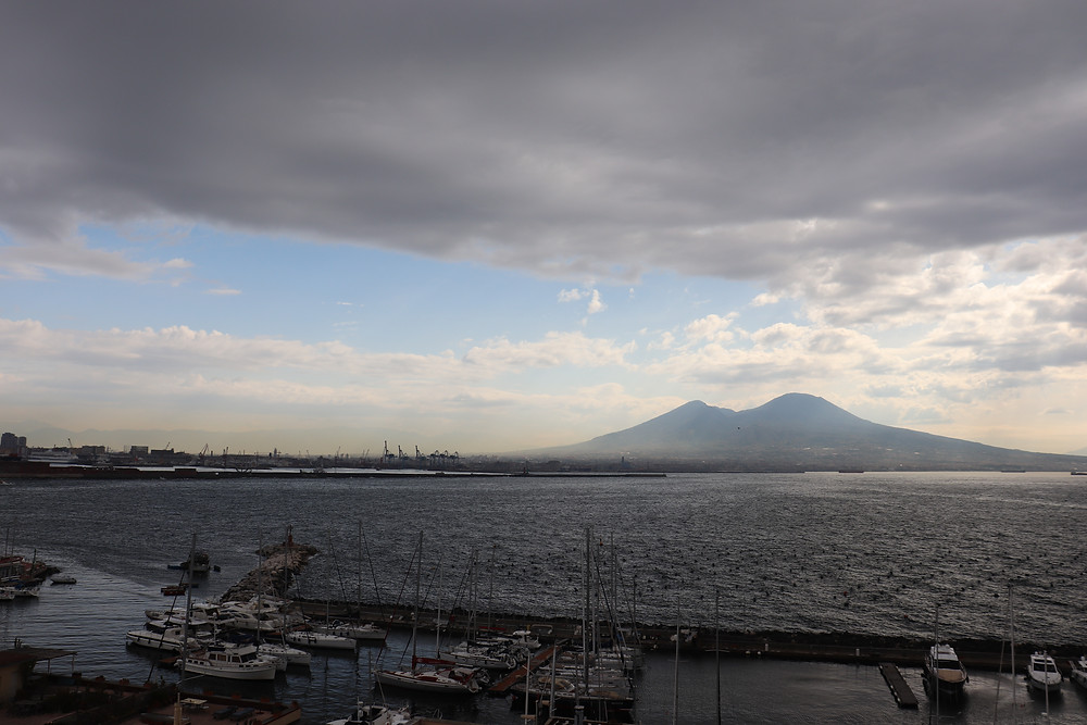 View of Mount Vesuvius from the promenade in Naples Italy