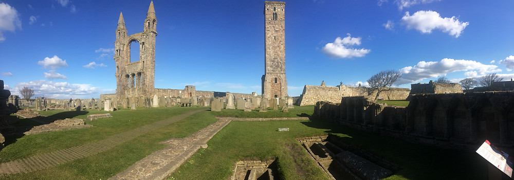 Ruins of St Andrews Cathedral in Scotland