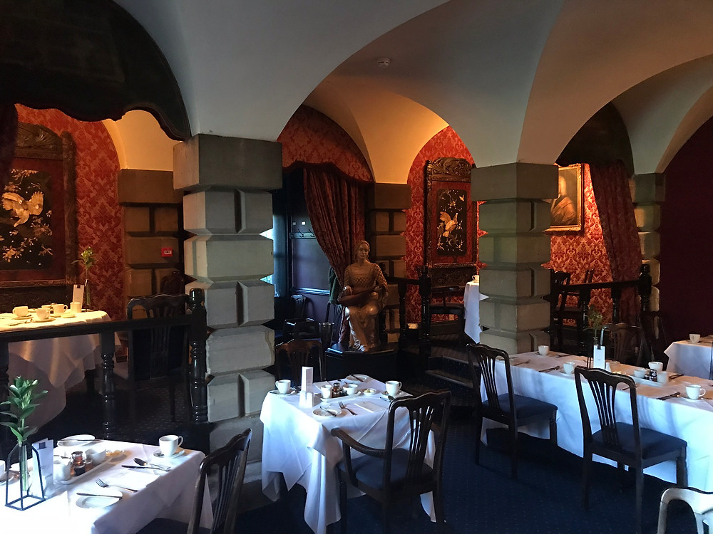 The black knight restaurant at breakfast time inside lumley castle hotel northern england