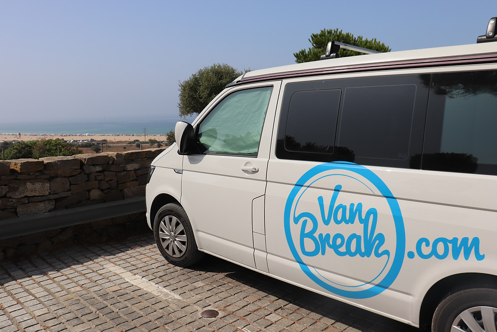 Van parked overlooking playa bolonia in tarifa southern spain