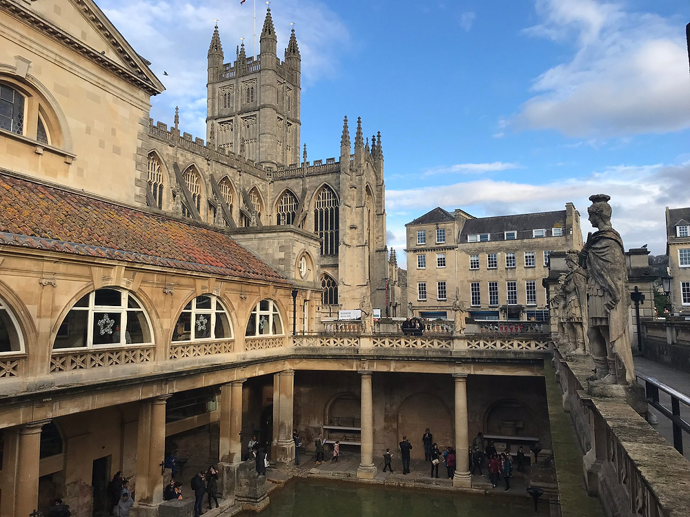 View of Bath Abbey from the Roman Baths in Bath, England
