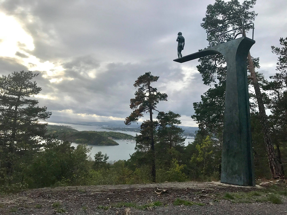 Ekebergparken view with diving statue in Oslo, Norway
