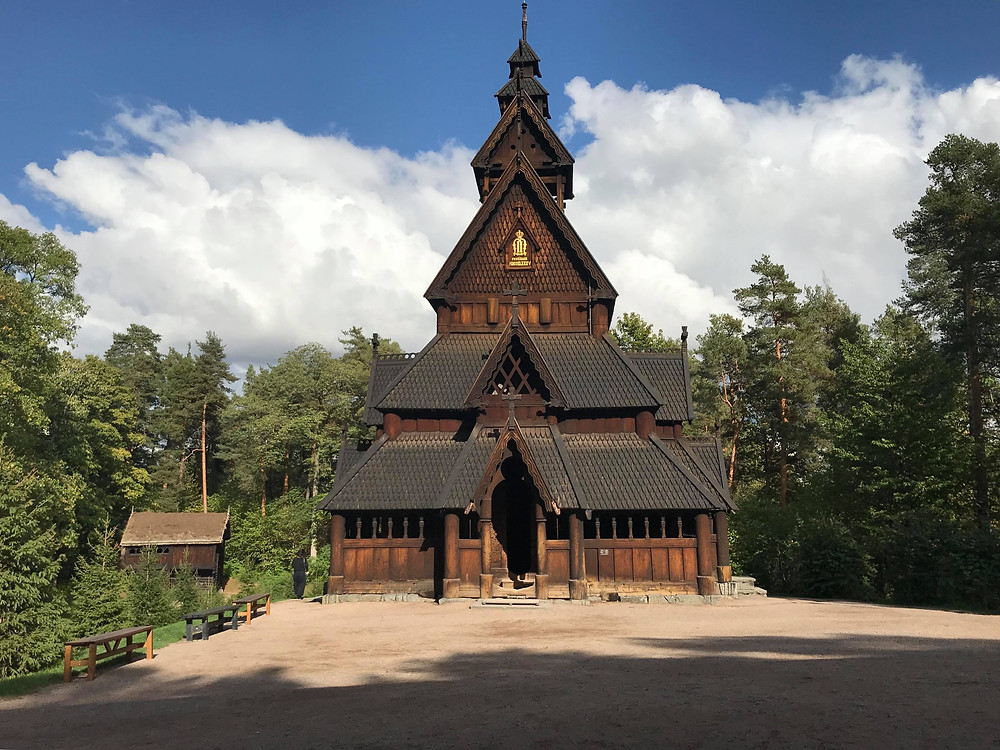 Norsk Folkemuseum famous wooden church in Oslo, Norway