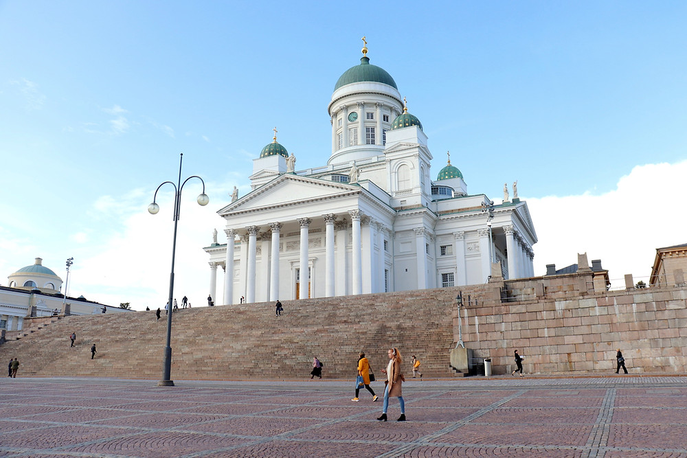 View of Helsinki Cathedral from the middle of Senate Square, one of the best free things to do in Helsinki.