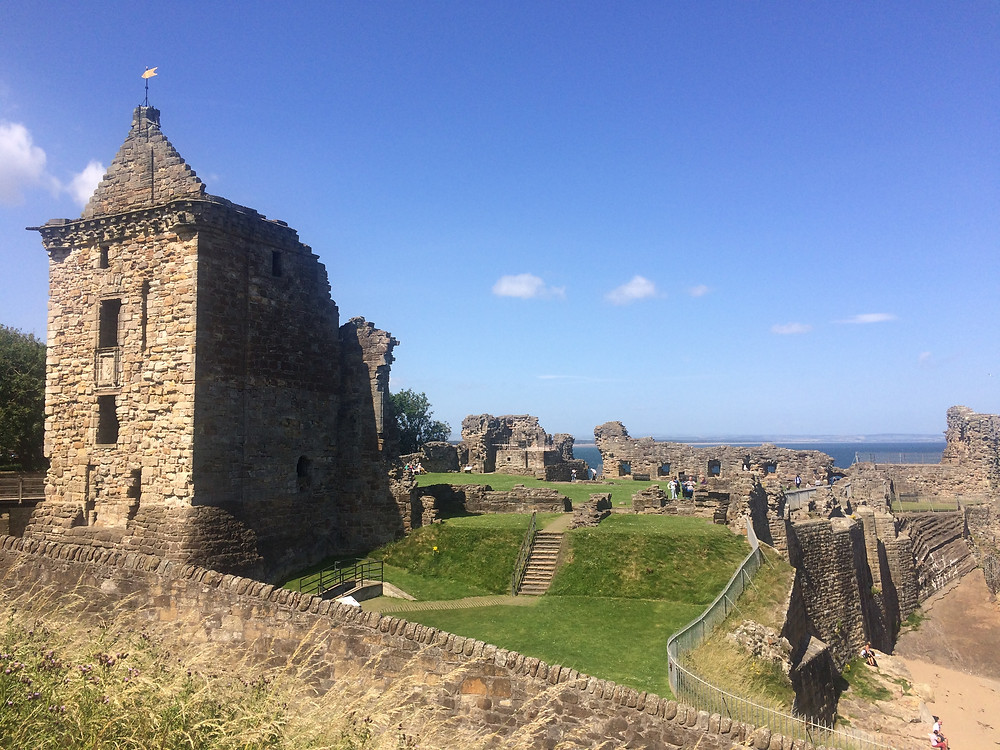 Ruins of St Andrews Castle in Scotland