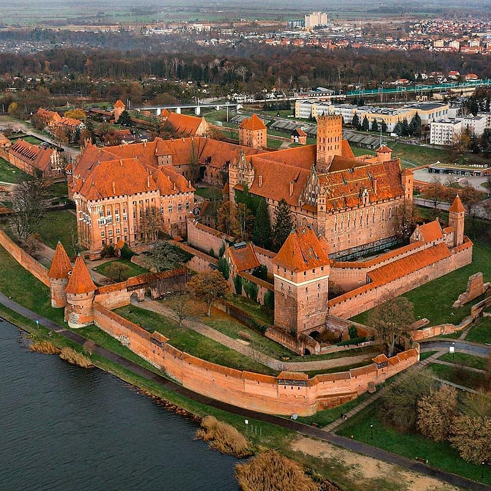 Malbork Castle aerial view in Poland