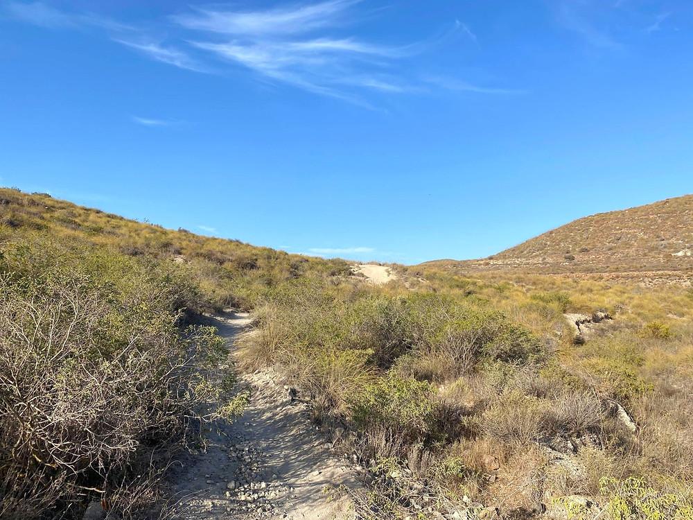 Cala de Enmedio hiking trail through the national park in Almeria, Spain