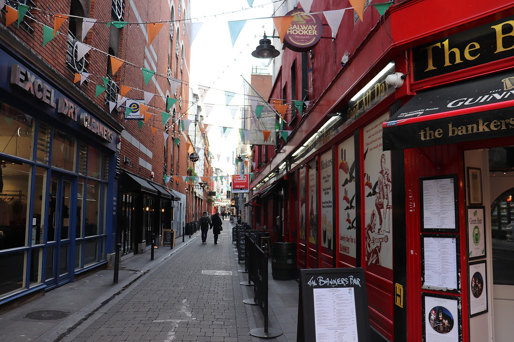 Dame Lane historic narrow street with bars in Dublin Ireland