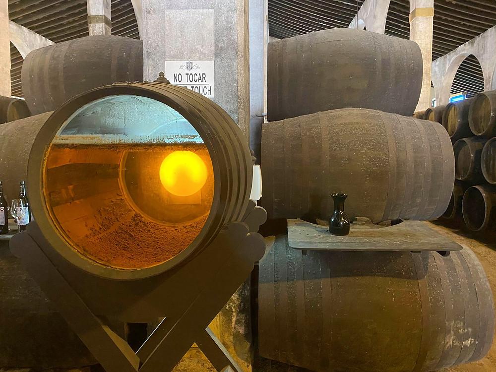 Bodegas Lustau sherry barrel with transparent lid showing wine inside, Jerez, Spain