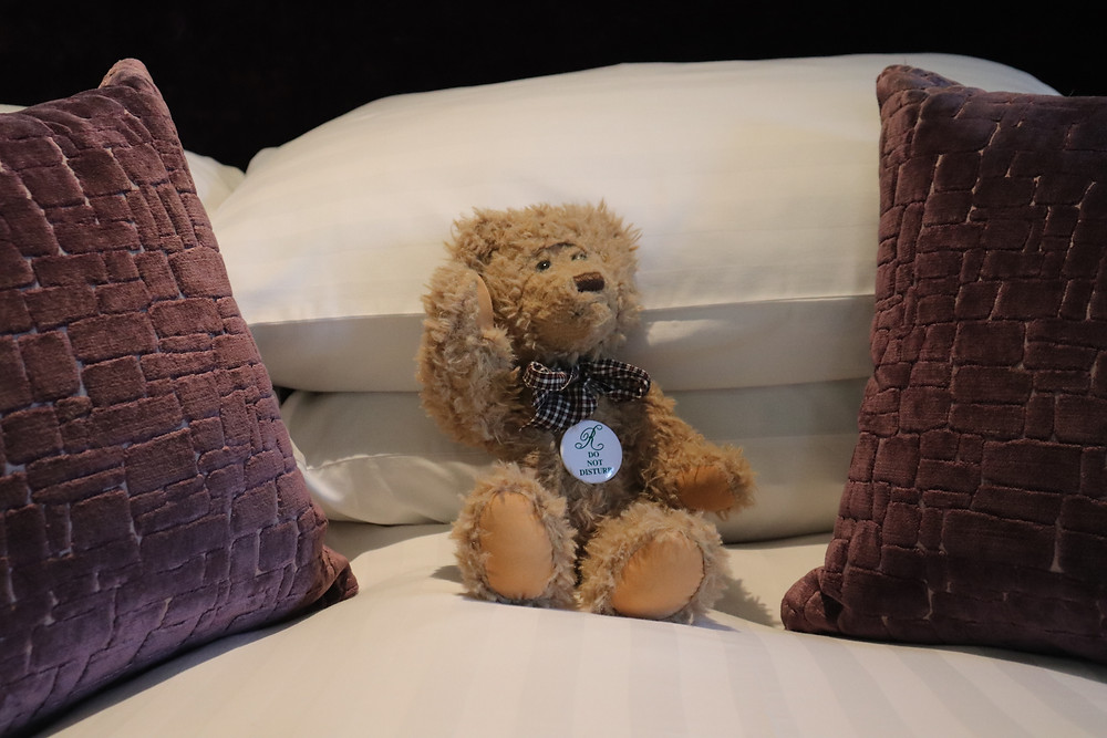 Teddy bear sitting between pillows on the bed in rufflets hotel st andrews scotland