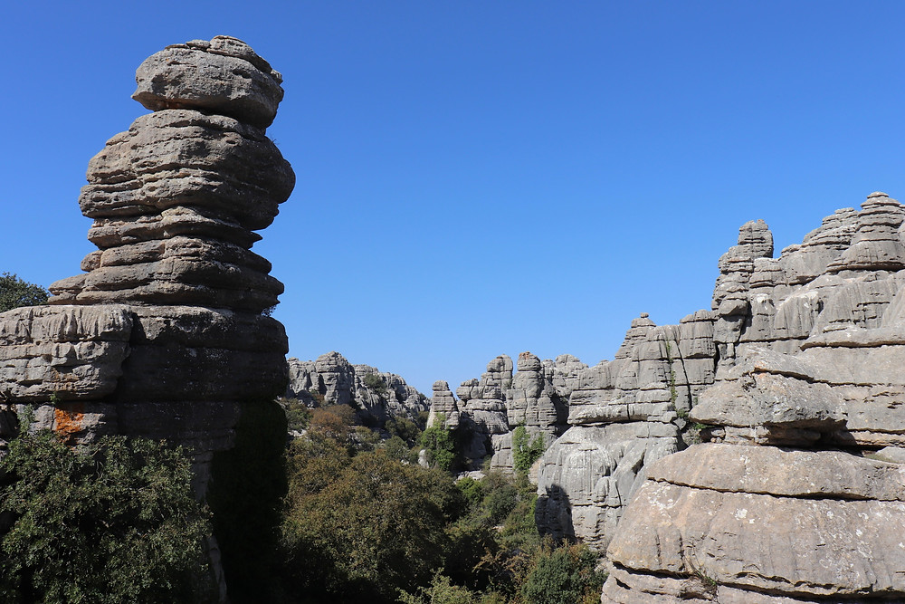 Very tall limestone rock formations rising above the tree tops which look like they have been stacked on top of each other.