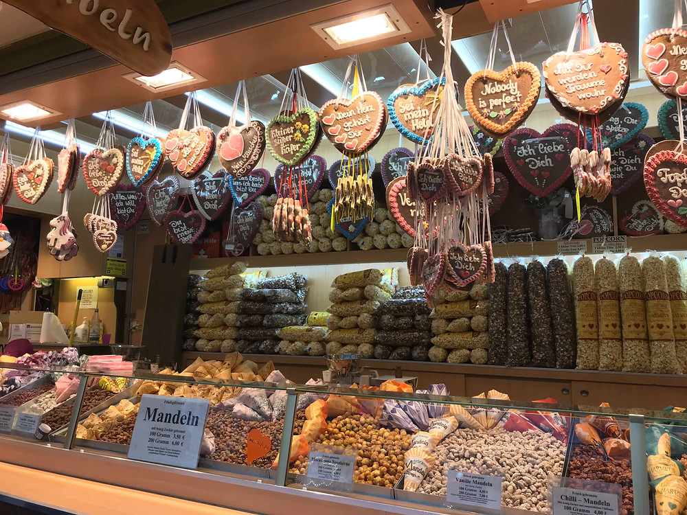 Gingerbread hearts hung up at a market stall at the Christmas market in Frankfurt, Germany