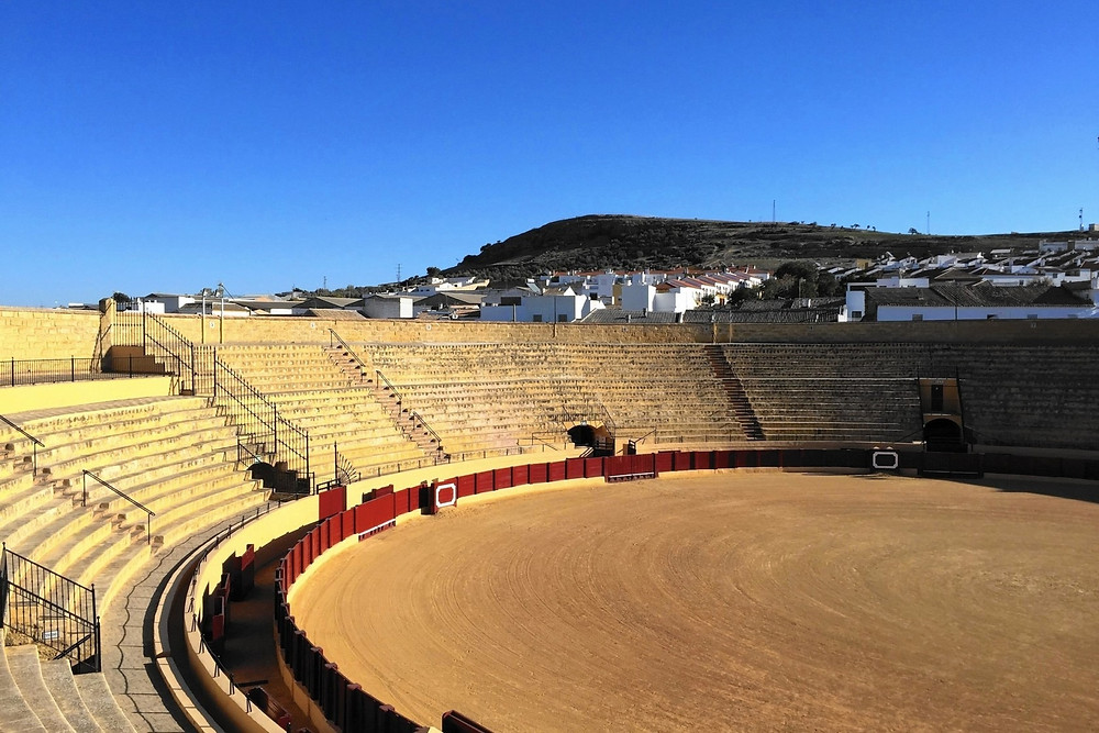 View of the inside of Plaza de Toros de Osuna near Seville, southern Spain