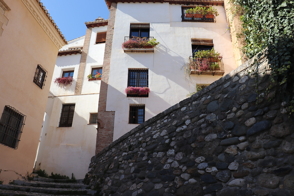 Albaicín neighbourhood with narrow streets in Granada Spain