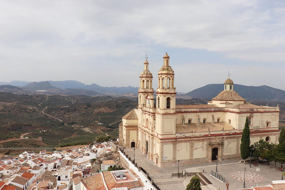 View of the main church in Olvera from the top of the castle in Spain