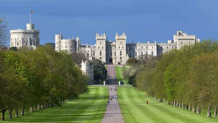 View of Windsor Castle in England from the walkway
