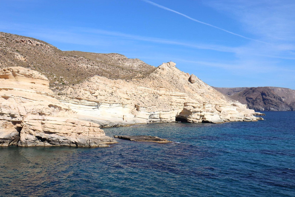 Playa el Playazo coastline view from the walking route around Playa el Playazo on a sunny day in Almeria, Spain