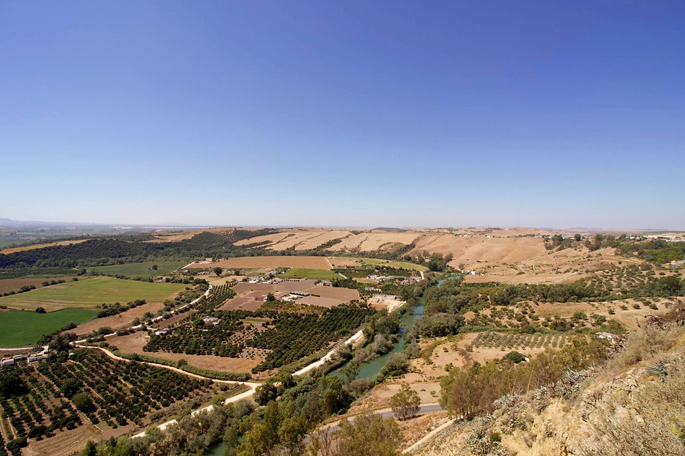 View of the landscape from Mirador Plaza del Cabildo in Arcos de la Frontera, Spain