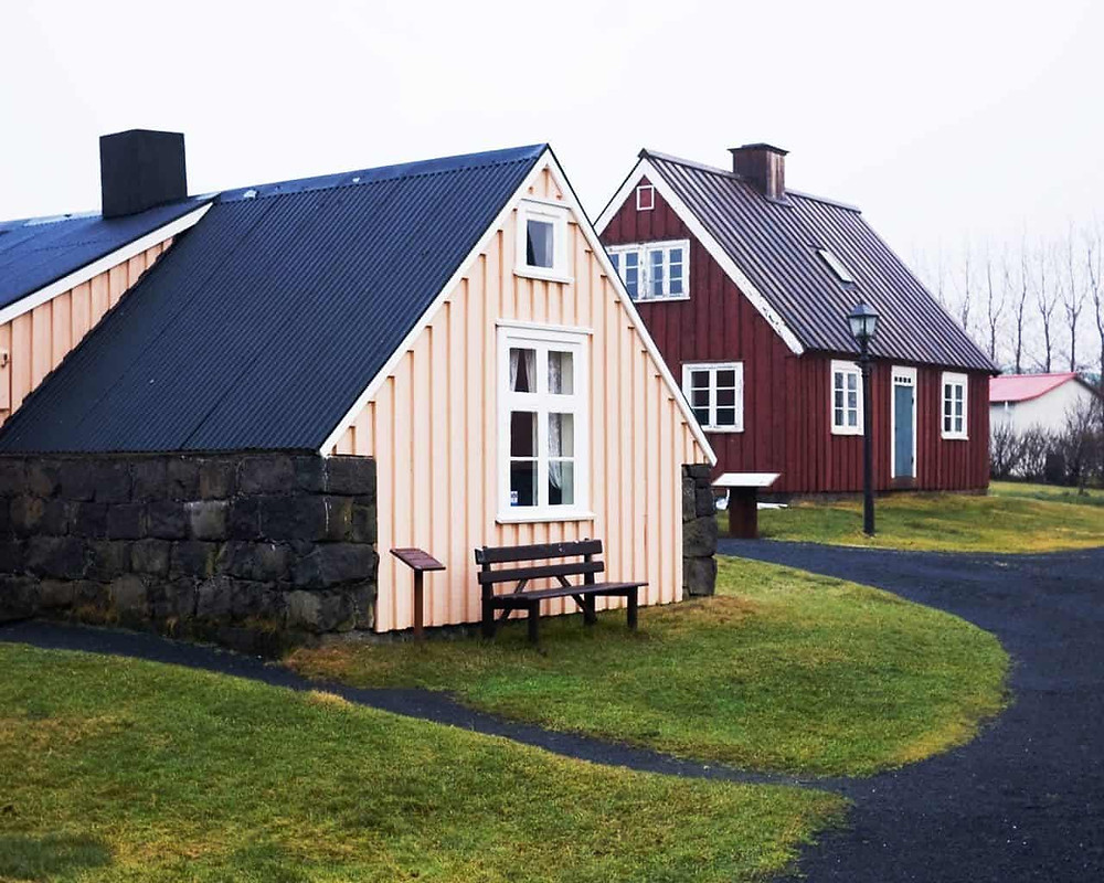 Reconstructed houses in the Arbaer Museum in Reykjavik, Iceland
