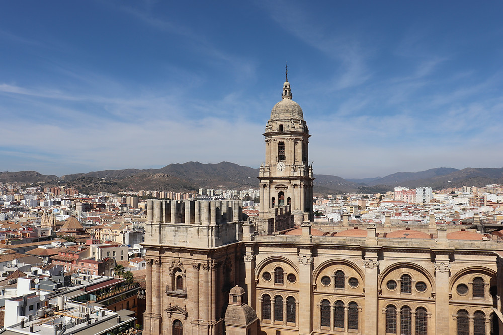 Malaga Cathedral view from a rooftop bar Spain