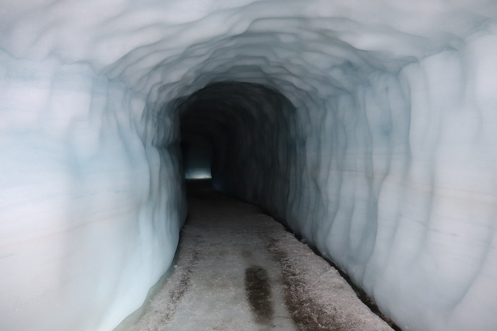 Langjokull from the inside in a tunnel, Iceland