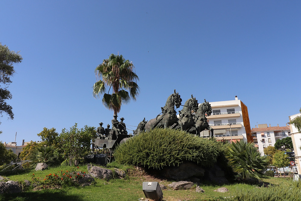 Plaza Mamelon horse statue in Jerez, Cadiz, Spain