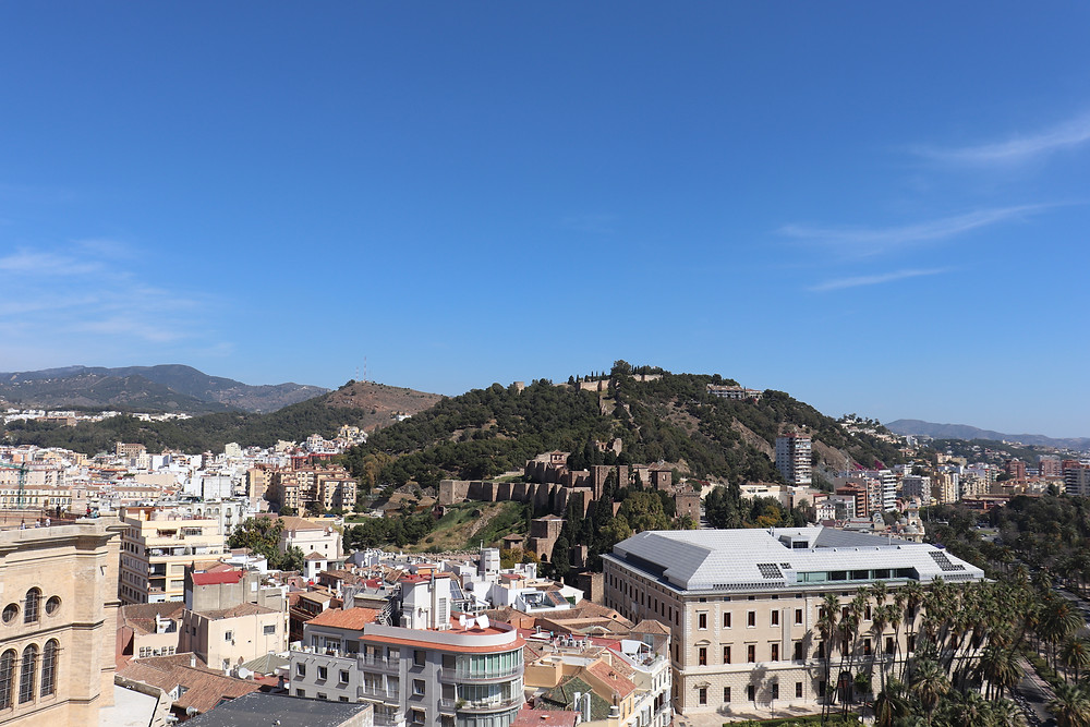 View of Malaga from a rooftop hotel bar, Spain