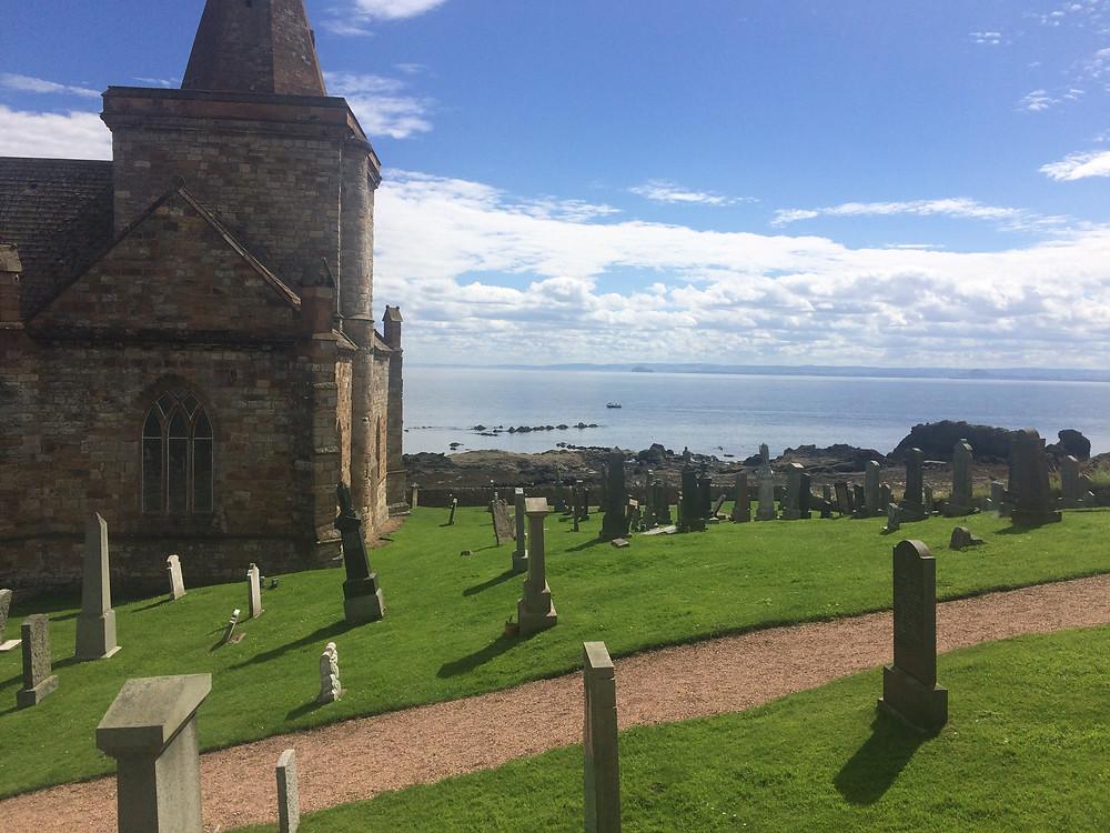 St Monans church and graveyard along the Fife Coastal Path in Scotland