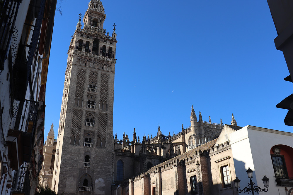 Seville cathedral against a blue sky in spain