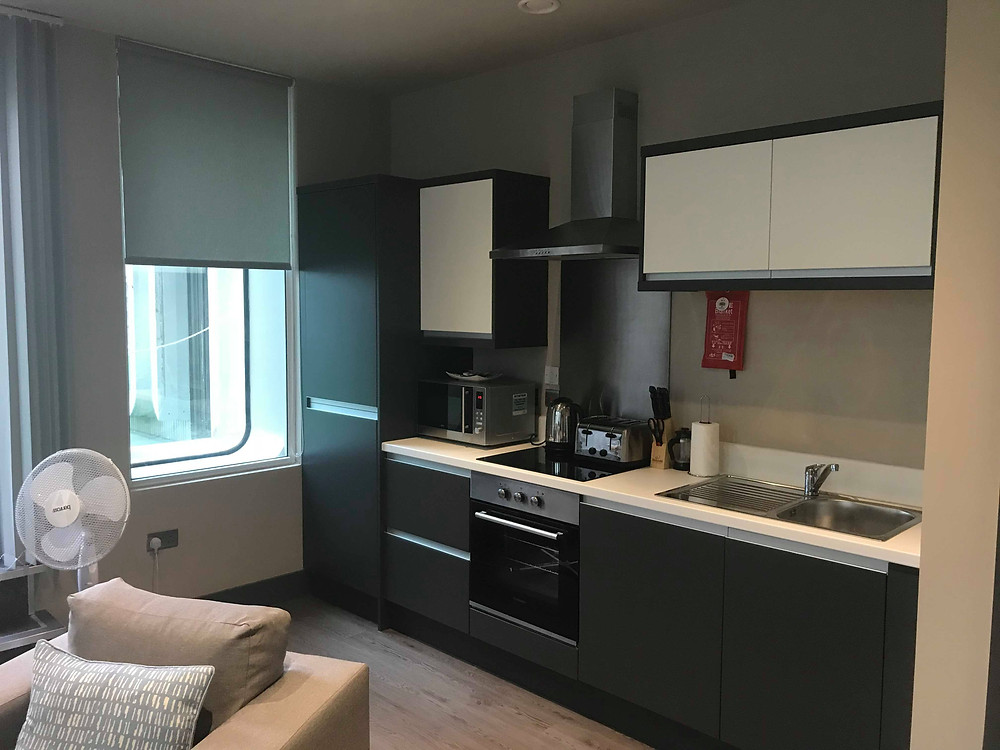 Open kitchen plan in Dream Apartments Water Street Liverpool, England