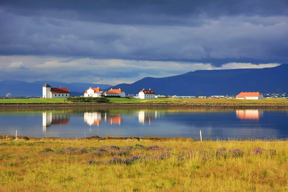 View of Bessastadir from across the water in Reykjavik, Iceland