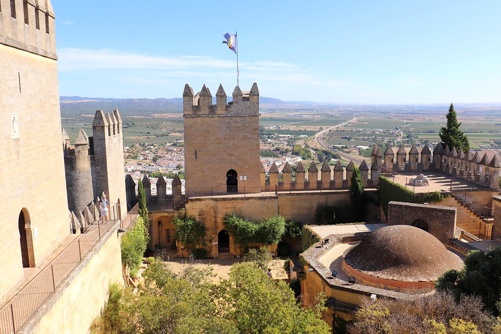 Inside Castillo Almodóvar del Río from the top of a tower outside of Cordoba, Spain