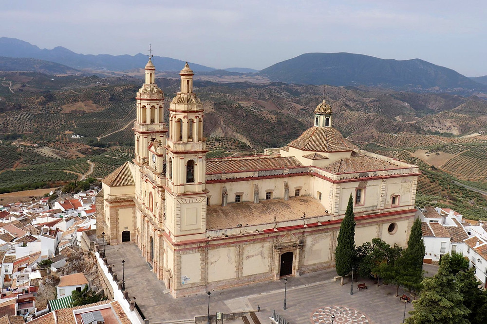 Parroquia Nuestra Señora de la Encarnación view from the castle steps in Olvera, Spain