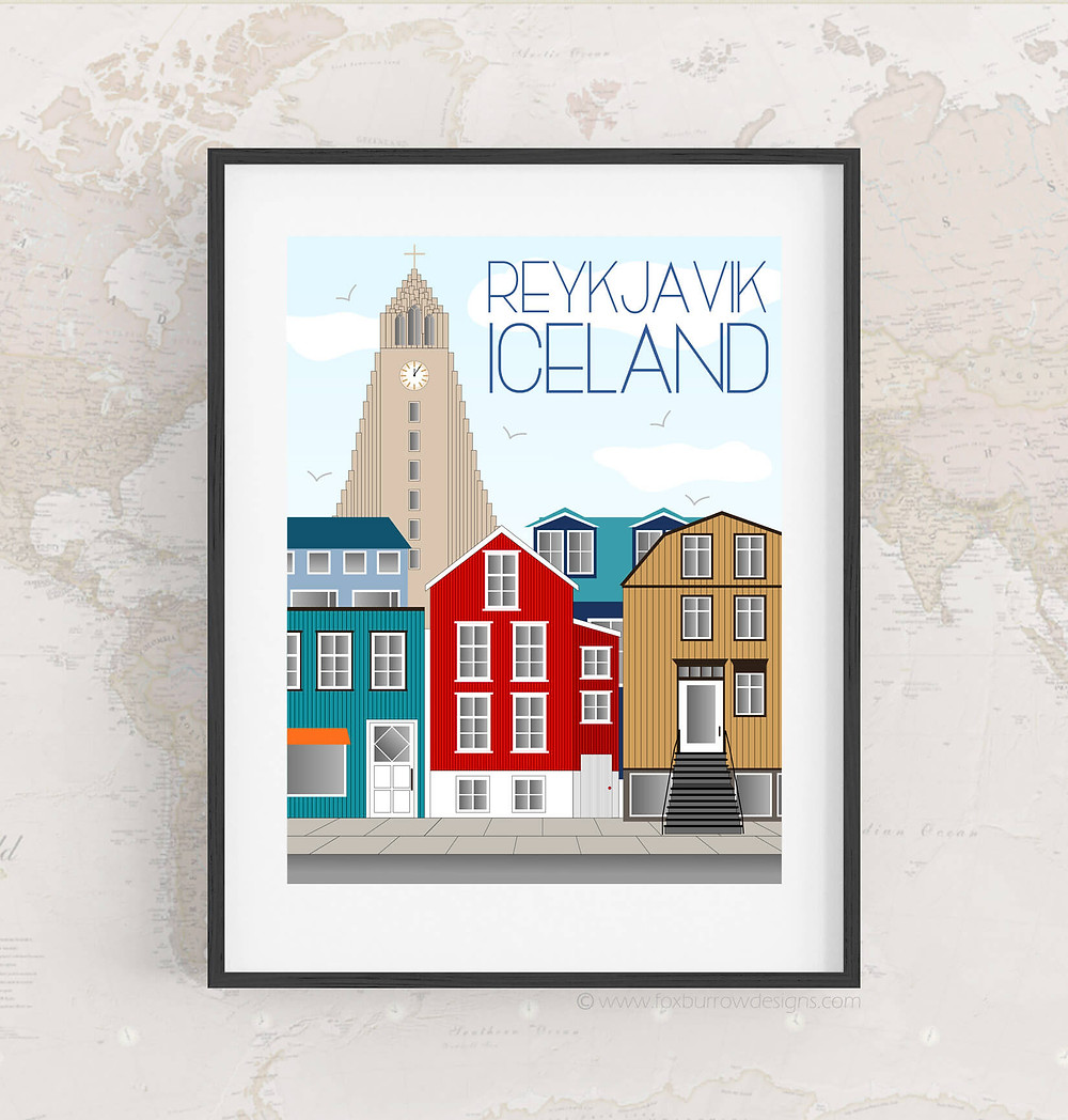 Travel print of Reykjavik from Fox Burrow Designs