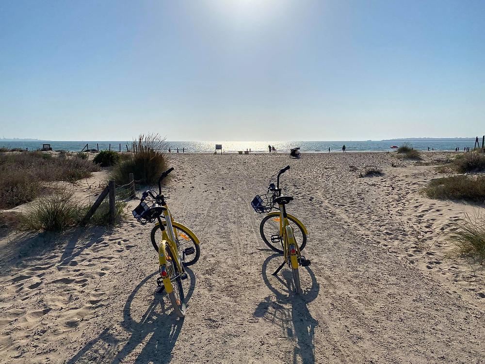 Parque de los Toruños bikes on the beach in El Puerto de Santa Maria, Cadiz, Spain