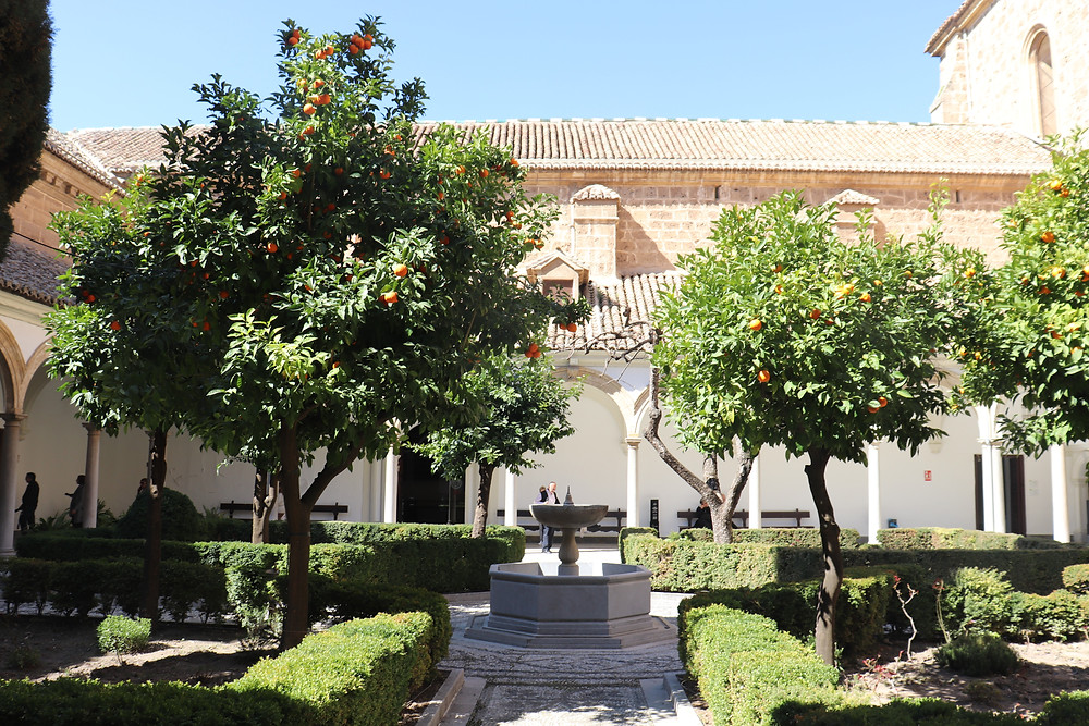 Inside courtyard of the Carthusian Monastery in Granada Spain