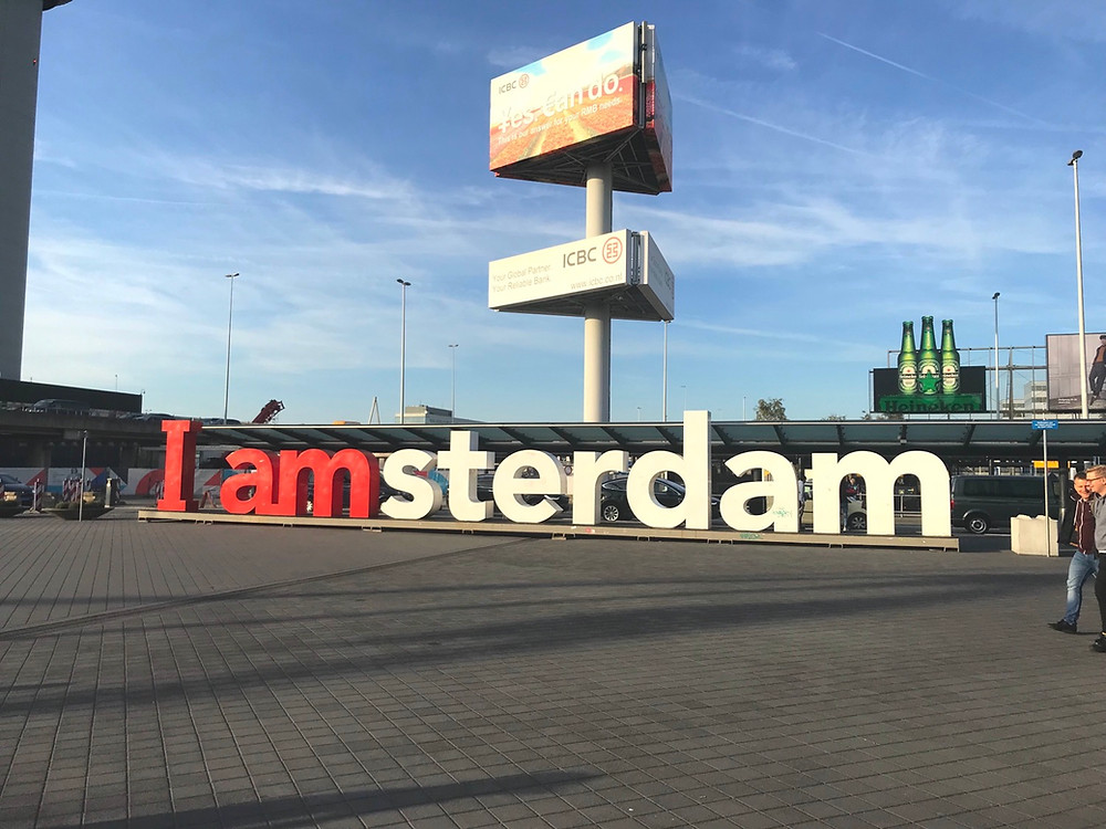 I Amsterdam sign outside of the Amsterdam airport Netherlands