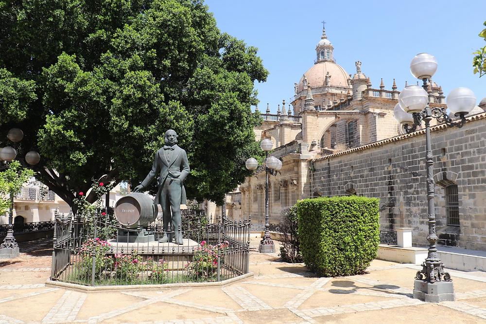Manuel María González Statue next to Jerez Cathedral, Cadiz, Spain