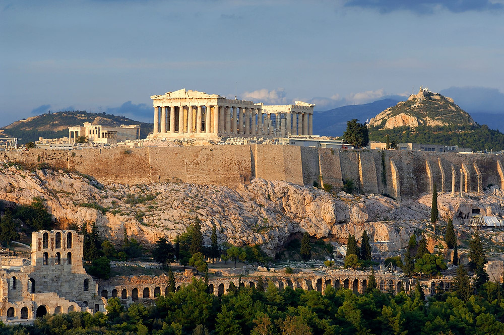 View of Acropolis and Parthenon in Athens, Greece