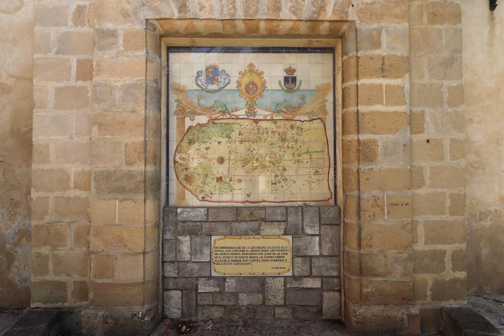 Plaza Juan de la Cosa next to the castle in El Puerto de Santa Maria, Cadiz, Spain