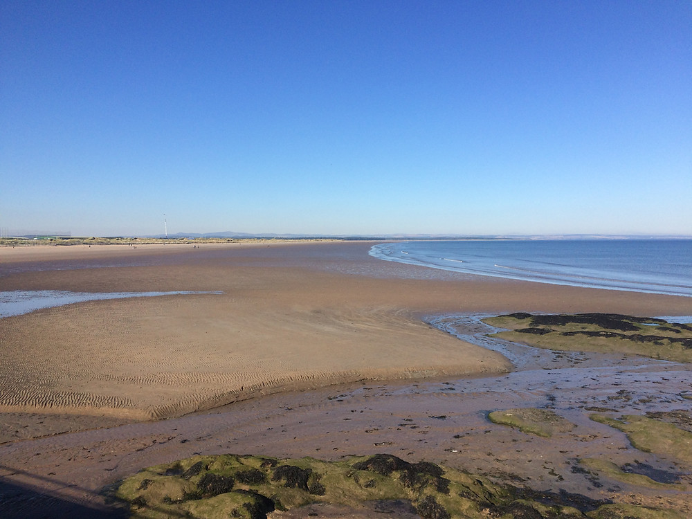 West Sands beach with tide out in St Andrews, Scotland