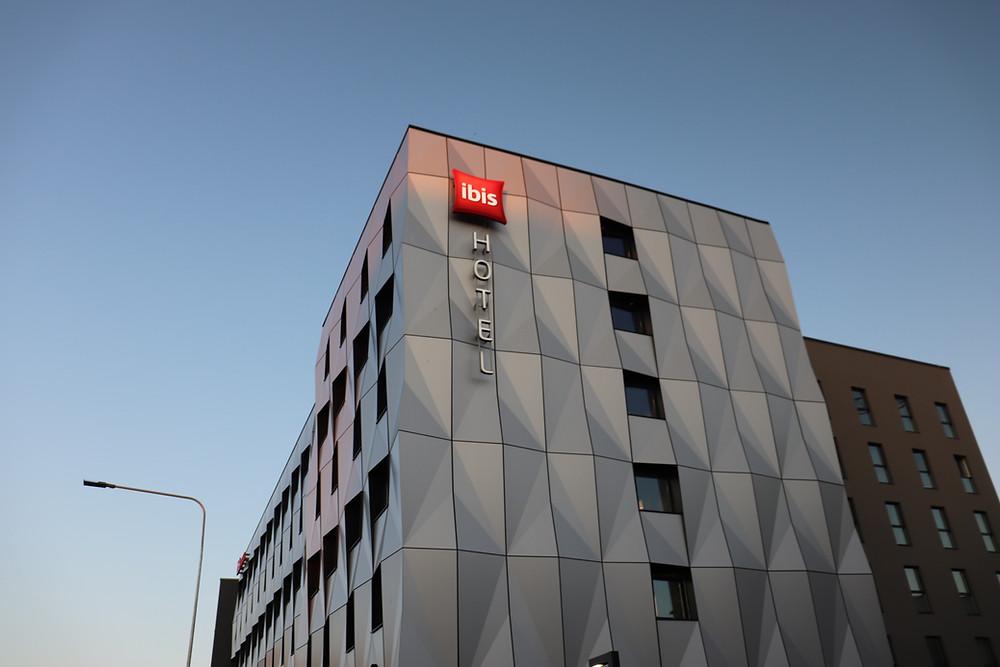Exterior shot of the ibis tallinn city center hotel, estonia