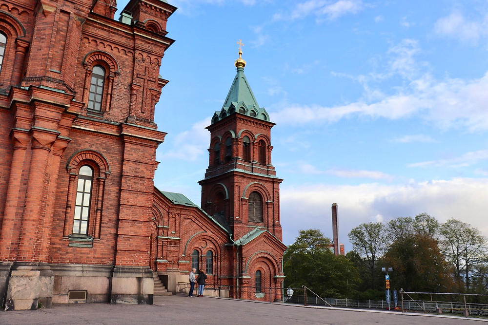 Close up shot of Uspenski Cathedral, Helsinki Finland