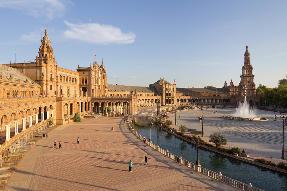 View of Plaza de España in Seville at sunset in southern Spain