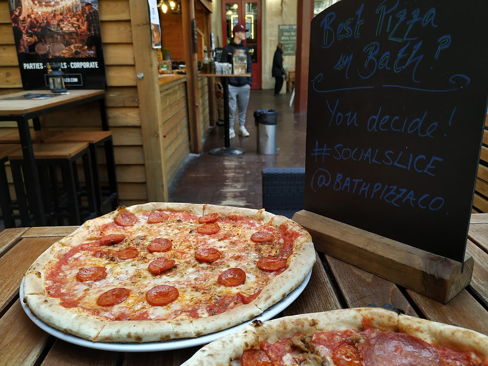 Bath Pizza Co selection of pizzas outside the station in Bath, England