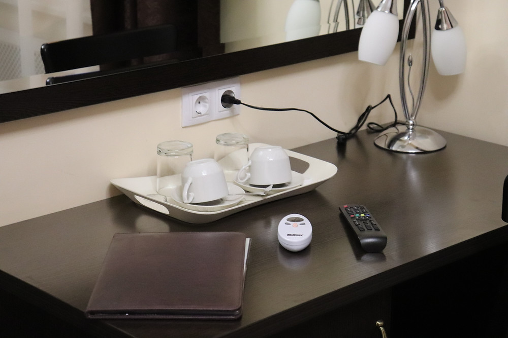 Cups and glasses on the desk in double bedded room hotel esplanada st petersburg russia