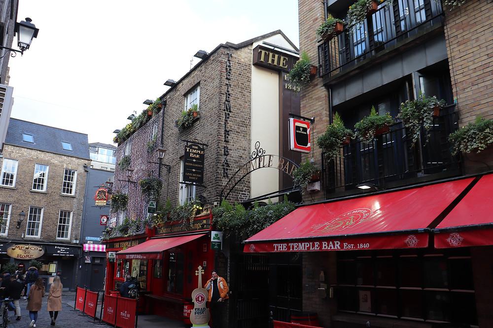 Temple Bar neighbourhood along the riverside in Dublin Ireland