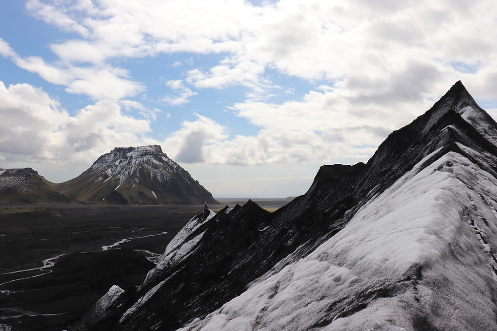View from the top of Katla ice caves glacier in Iceland